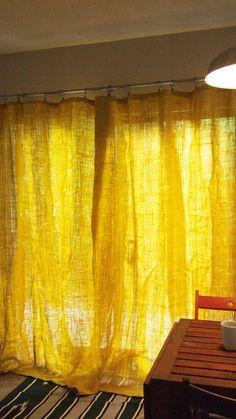 DIY Yellow Burlap Curtain