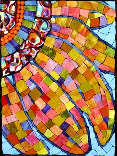 Sunflower Crazed with Light, Mosaic by Pamela Goode