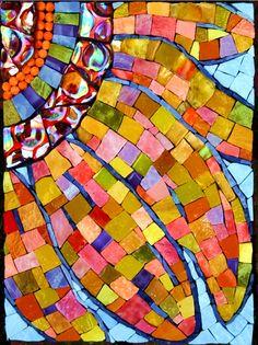 Sunflower Crazed with Light, Mosaic by Pamela Goode