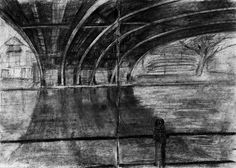 Charcoal drawing - under bridge on the river Cam.