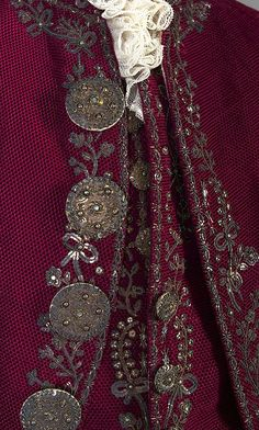 Detail of Passementerie Buttons on Eighteenth Century Men's Court Ensemble.