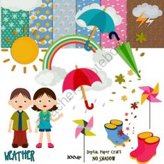 CLIPART WEATHER AND PAPERS from Digital PaperCraft on TeachersNotebook.com (23 pages)