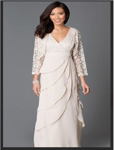 4b025a071909 Shop long evening dresses with matching bolero jackets at Simply Dresses.  Formal gowns with lace bodices, empire waists and tiered chiffon skirts.