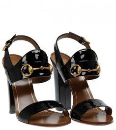 Gucci Black Vernice Crystal Patent Leather High Heel Sandal