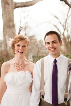 Gold suspenders are a good idea but I don't think I'm loving it. | DIY ombre wedding ideas