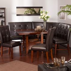 Kitchen Dining Room Leather Wood Corner Breakfast Nook Table ...