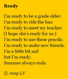 A poem about the start of school from The Poem Farm, Amy Ludwig VanDerwater's blog full of poems and poetry mini lessons and peeks into classrooms!  Please stop by!