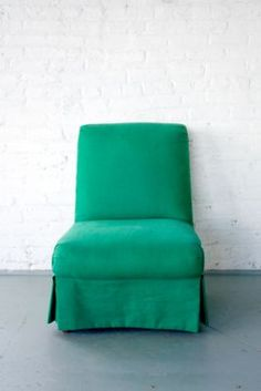 Emerald Slipper Chair | Patina - i would love to make a slipcover for my slipper chair just like this!