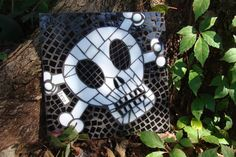 Stained Glass Mosaic Skull and Crossbones Wall by MoonGirlSquared
