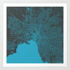 Melbourne map Art Print by Map Map Maps - $18.00---------------------------If you like my work, you can folllow my Facebook account : https://www.facebook.com/MapMapMaps