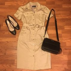 Adorable safari like collared tan dress . Jones New York Dresses Midi