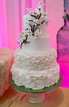Frills-Dogwood flowers-Wedding Cake-The Cake Zone