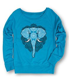 Look what I found on #zulily! Cobalt Henna Elephant Slouchy Pullover #zulilyfinds