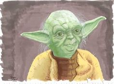Yoda illustration using Prismacolor markers.