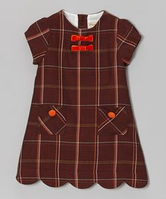 P'TITE MOM. Brown Plaid Scallop Dress. Classic circa 1930. Excellent details: scallop hem, bias pockets and bows straight from a catalog. Bit busy but harmony to design.