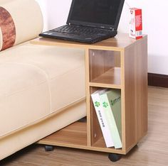 I want to make a laptop table like this, but I want the top to be wider so I can have my laptop and my notebook on top at the same time. Bedroom Furniture Design, Home Decor Furniture, Coffee Table Computer, Laptop Table For Bed, Couch Tray, Diy Laptop, Decorating Bookshelves, Small Wood Projects, Home Room Design