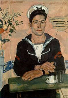 """MEETING"" (aka The Pink Sailor ) Artist: Greek painter Yannis Tsarouchis via Greek Islands Comics Illustration, Illustrations, Henri Matisse, Art Gay, Modern Art, Contemporary Art, Greek Paintings, Queer Art, Street Art"