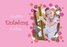 Süße Einladungskarte Zum 6. Kindergeburtstag Für Mädchen Mit Foto Und Rahmen  Aus Rosa Blumen #
