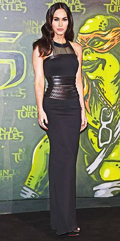 Last Night's Look: Love It or Leave It | MEGAN FOX | The star goes edgy-glam in a black David Koma gown with leather details for the Teenage Mutant Ninja Turtles premiere in Berlin.