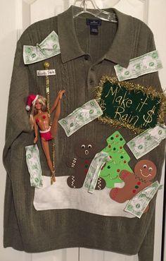 Ugly Naughty Christmas Sweater Stripper Barbie Make It Rain Size XL 2XL Topless    eBay