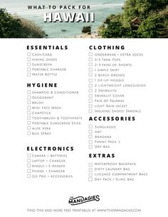 The Best Hawaii Packing List For Adventure Seekers The Mandagies Adventurous Ha.The Best Hawaii Packing List For Adventure Seekers The Mandagies Adventurous Hawaii Packing List Read this post to find out exactly what clothes to bring the right k Honeymoon Packing, Packing List For Vacation, Hawaii Honeymoon, Honolulu Hawaii, Hawaii Travel, Hawaii Packing Lists, Travel Packing, Travel Checklist, Honeymoon Destinations