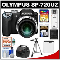 "Olympus SP-720UZ Digital Camera (Black) with 32GB Card + Battery + Case + Tripod + Cleaning Kit by Olympus. $219.95. Kit includes:♦ 1) Olympus SP-720UZ Digital Camera (Black)♦ 2) Precision Design PD-C10 Camera/Camcorder Case♦ 3) Transcend 32GB SecureDigital Class 10 (SDHC) Ultra-High-Speed Card♦ 4) Spare Li-50B Battery for Olympus & Pentax Li-92B♦ 5) Zeikos 50"" ZE-TR26A Compact Travel Tripod♦ 6) Precision Design Memory Card Storage Wallet♦ 7) Precision Desig..."