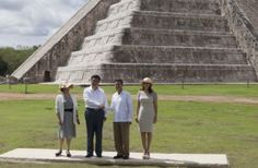 Picture of the Mexican President, Enrique Pena Nieto, the Mexican First Lady, the Chinese President Xi Jinping, and the Chinese First Lady visiting the ancient Maya city of Chichen Itza.  The Hacienda Chichen Resort was honored to host these prestigious guests for their lunch after visiting the archaeological sight on June 6, 2013.