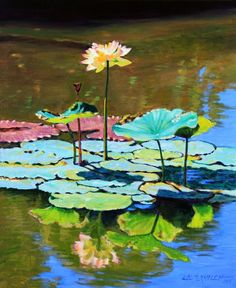 Lotus Above the Lily Pads - Paintings by John Lautermilch