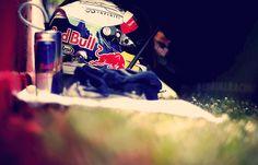 Helmet in the grass of Sebastian Vettel in GP of Spain…