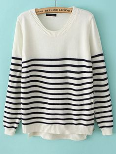 White Long Sleeve Striped Buttons Sweater - Sheinside.com