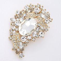 Gold Bridal Brooch Glam Wedding Accessory