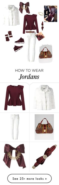 """How to wear Jordan's"" by loveso on Polyvore featuring Balmain, Simonetta Ravizza, Louis Vuitton, Gucci, Chopard, Chanel, Rampage and Oscar de la Renta"