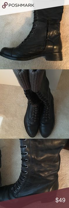 Black leather Cole Haan boots Gorgeous black leather Cole Haan knee boots. Gently worn and in very good condition. Cole Haan Shoes Heeled Boots