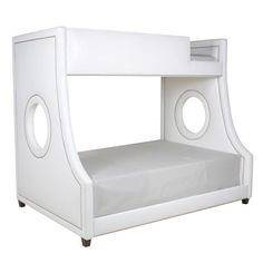 Gramercy Upholstered Twin Over Full White Faux Leather