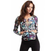 Säästät - Patterned blazer with metal zip. Bomber Jacket, Spandex, Vogue, Dresses With Sleeves, Sweatshirts, Long Sleeve, Model, Jackets, Shopping