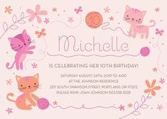 Adorable Playful Kittens Birthday Party Invitation. One of my favorites!