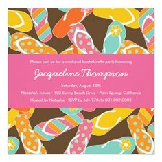 bachelorette beach party invitation Summer Colorful Flip Flops Chic Bachelorette Party Card