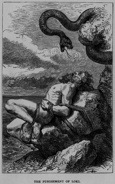 "Louis Huard - The Punishment of Loki, ""The Heroes of Asgard: Tales from Scandinavian Mythology"", 1900."