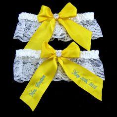Yellow Bridal Garter, Wedding Garter, Custom Bridal Garter by EllaWinston Get yours here https://www.etsy.com/listing/233340034/yellow-bridal-garter-wedding-garter $24.89 #weddinggarter #bridalgarter
