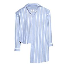 Vetements Oversized uneven-hem striped shirt (£770) ❤ liked on Polyvore featuring tops, blue button-down shirts, stripe top, striped button-down shirts, blue stripe shirt and blue top