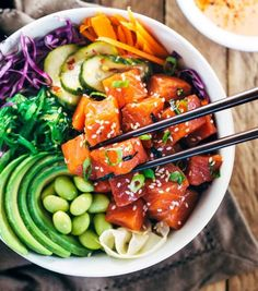 Spicy Sockeye Salmon Poke Bowls - Healthy and flavorful Luxe Gourmets protein infused with Japanese inspired flavors for a delicious gourmet meal! Thanks to Jessica Gavin Salmon Recipes, Seafood Recipes, Asian Recipes, Yummy Recipes, Cooking Recipes, Yummy Food, Healthy Recipes, Tasty Recipe, Seafood Dishes