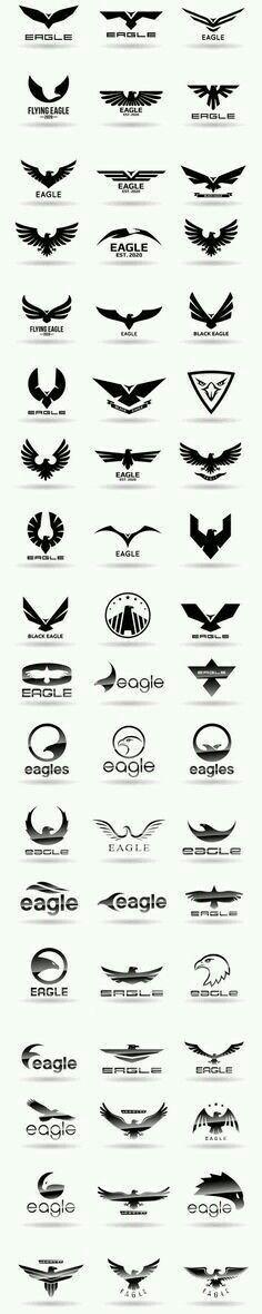 Many ways to design an eagle logo. A simple eagle logo. A fun eagle logo. Inspiration Logo Design, Icon Design, Design Art, Web Design, Logo Branding, Logo Typo, Logo Sketch, Logo Luxury, 1 Tattoo