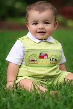 Boys smocked outfits, shortalls and longalls.