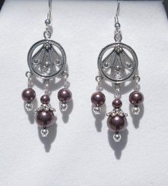 Sterling silver earrings with Swarovski burgundy pearl drops by ParkhillDesigns on Etsy