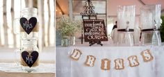 Perth Country Wedding Details inside the Tent. mason jar glasses and handmade wedding signs