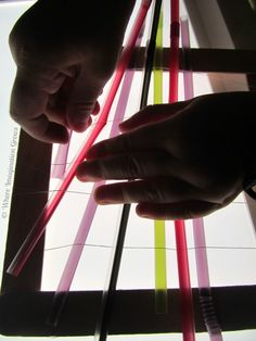 Weaving with Straws on the Light Table from Where Imagination Grows