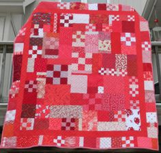 Handmade Patchwork Quilt in Red White Quilt Professional Quilted Queen Size | eBay