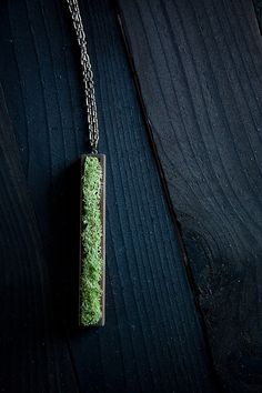 natural moss and wood pendant.