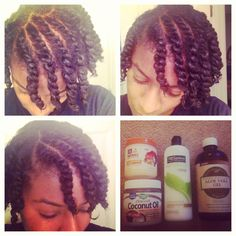 Natural Hair Prep- Front flat twist and two strand twist all over.
