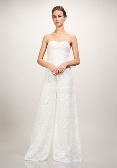 Strapless Corded Lace with Daisy Motif Jumpsuit | Skyler by Theia | http://trib.al/HKlYevc